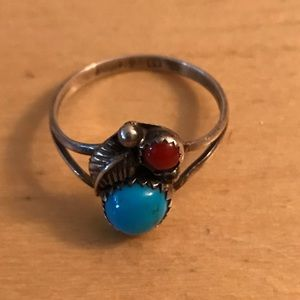 Sterling silver red coral/turquoise Indian ring